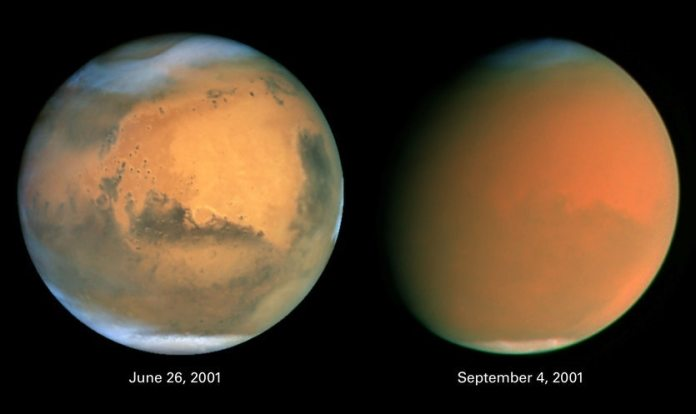Image showing a world encompassing dust storm on Mars that took place in 2001