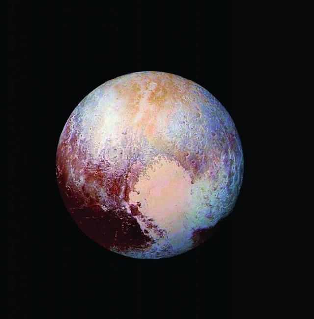 Pluto's surface sports a remarkable range of landforms that have their own distinct colors, telling a complex geological and climatological story. Credit: Courtesy NASA / JHUAPL / SwRI Table of Contents page 2015 Annual Report Division: (15)
