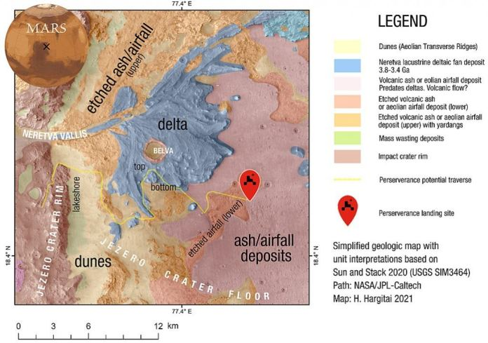 <Click to Enlarge> This map show the geographic features of Jezero Crater, Perseverance's landing site. Two small craters flank the red landing site indicator, and one of them appears to be visible in the landing video. Image Credit: By Hargitai - Own work, CC BY-SA 4.0, https://commons.wikimedia.org/w/index.php?curid=100211307