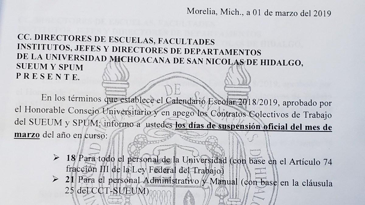 Suspensiones oficiales en la UMSNH durante el mes de Marzo
