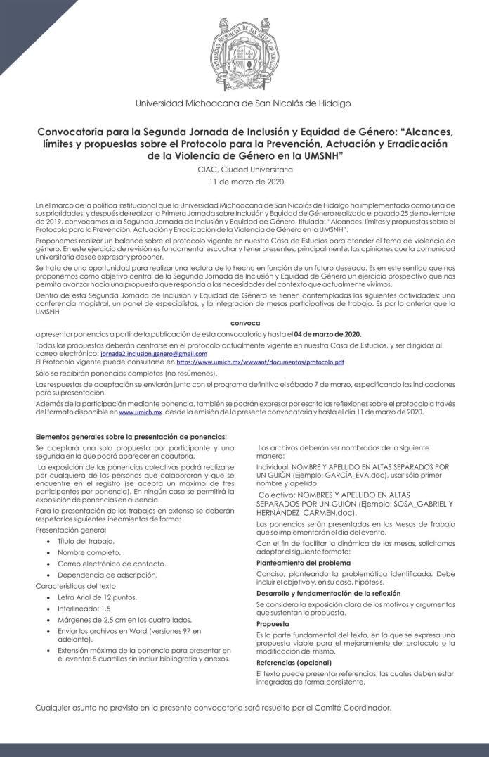 Convocatoria a la II Jornada de Inclusión y Equidad de Género en la UMSNH