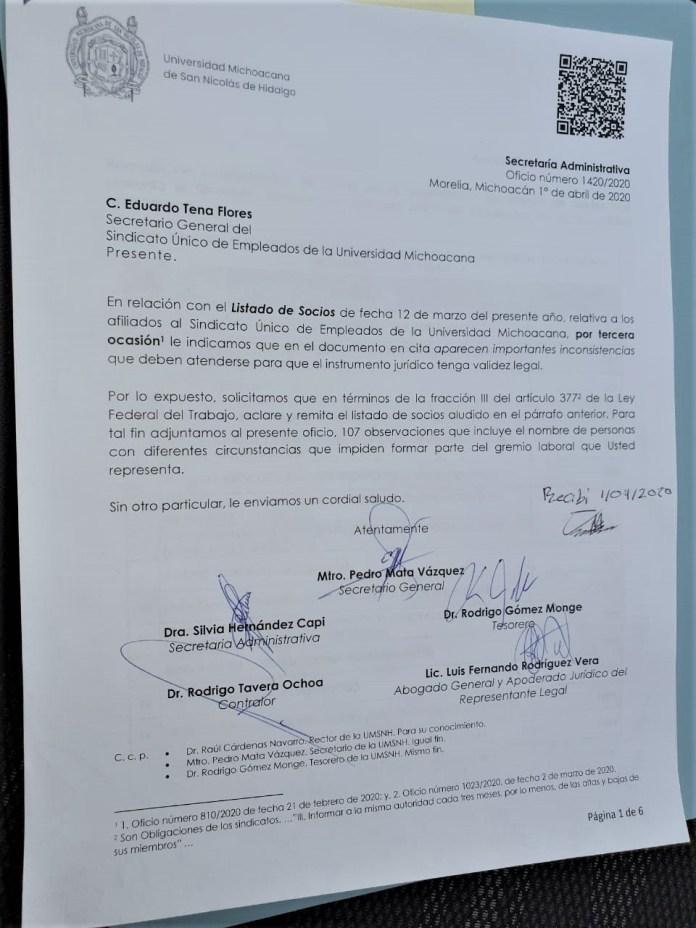 Tercer oficio de autoridades universitarias en donde señalan inconsistencias al nuevo padrón del SUEUM por 107 casos nuevos.