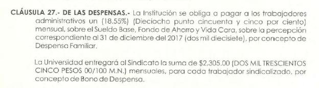Bono de despensa: Fundamento en el Contrato Colectivo de Trabajo vigente del SUEUM