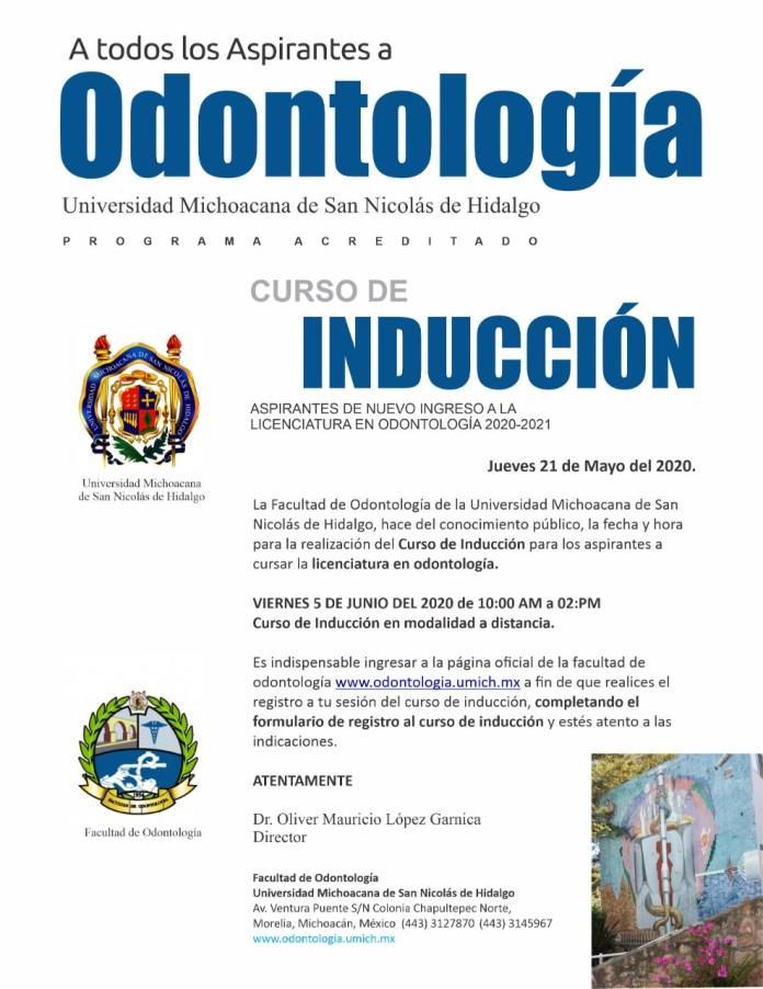 La Facultad de odontología, anuncia su curso de inducción a la licenciatura a través de internet, a distancia.