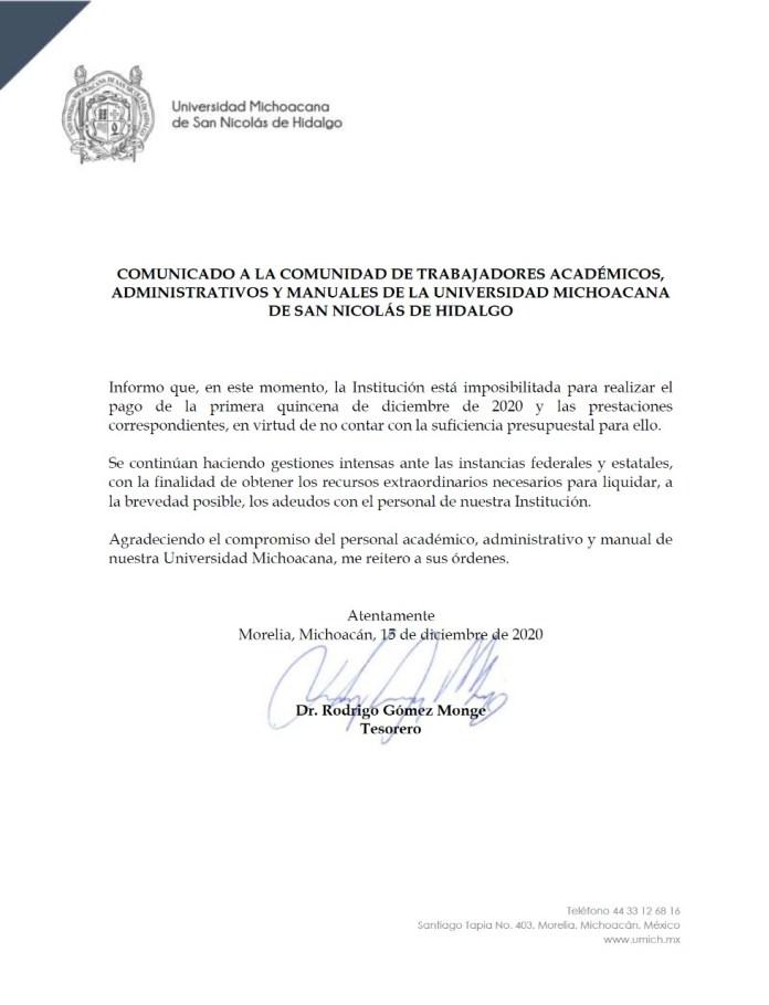 Comunicado oficial de la UMSNH; imposibilidad de pagar quincenas,