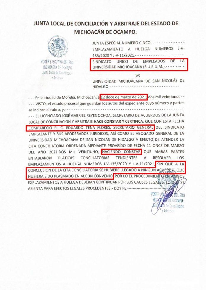 Documento expedido por la Junta Local de Conciliación y Arbitraje del Estado de Michoacán que confirma y ratifica la falta de acuerdo alguno entre la UMSNH y el SUEUM en la reunión sostenida este 12 de marzo del 2021