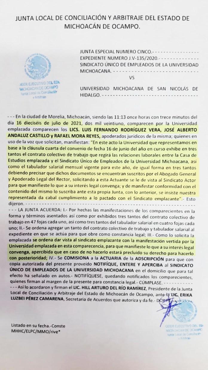 Deposita la UMSNH el contrato colectivo de trabajo ante la Junta Local de conciliación y arbitraje el 16 de julio, ante la negativa del SUEUM