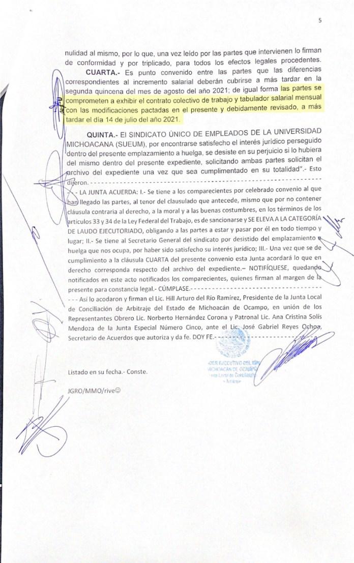 Acuerdo entre el SUEUM y la UMSNH que dio por terminado el emplazamiento a huelga por revisión contractual en 2021