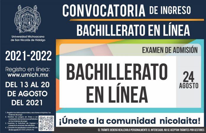 Tercera Convocatoria de Nuevo Ingreso a la UMSNH 2021-2022 - Bachillerato en Línea