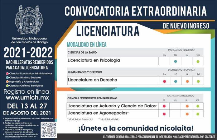 Tercera Convocatoria de Nuevo Ingreso a la UMSNH 2021-2022 - Nuevas licenciaturas y licenciaturas en línea