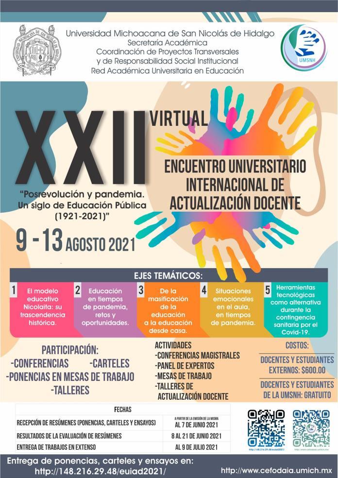 XXII Encuentro Internacional de Actualización Docente en la UMSNH