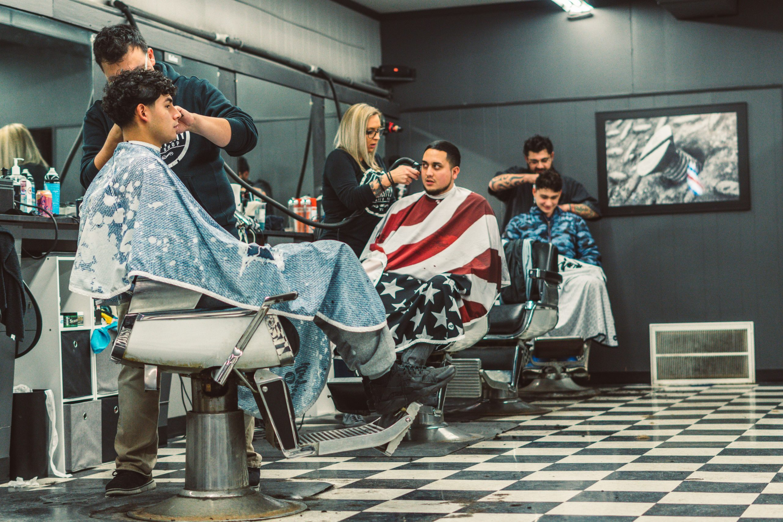 Our Team of Talented Barbers Hard at Work.