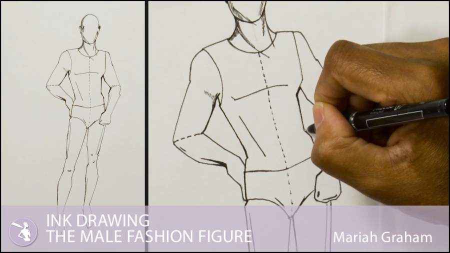 Ink Drawing The Male Fashion Figure   University of Fashion