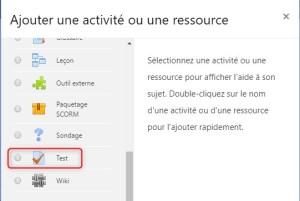 Sur Moodlecloud-ajouter une activite Test