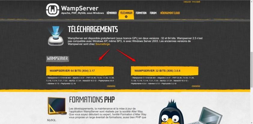 Quelle version de Wampserver dois-je choisir32 ou 64 bits?