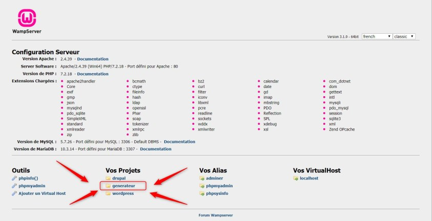 Retournez sur localhost et cliquez sur votre projet Drupal pour configurer le site
