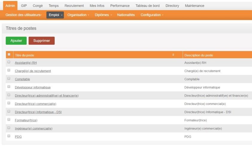 orangeHRM - voir tous les titres-de-postes