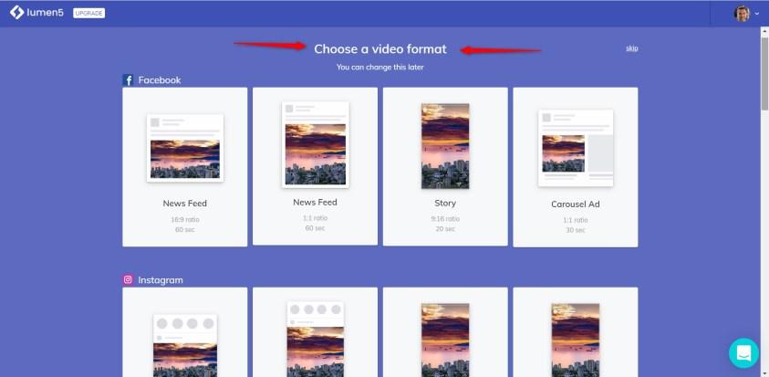 Créer une vidéo animée avec Lumen5 - format de la video