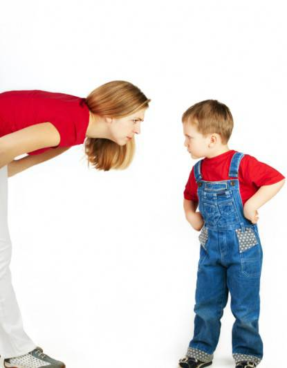 Mother scolds her son