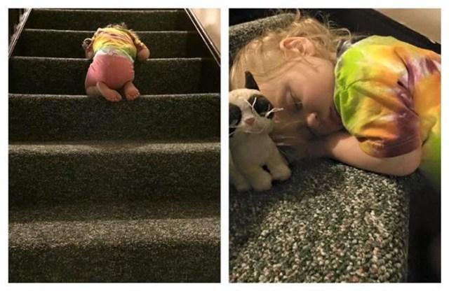 bimba dorme sulle scale