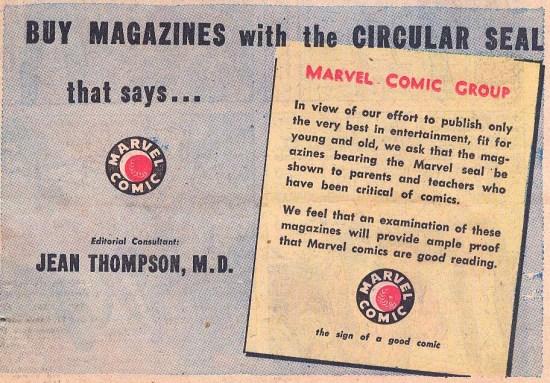 Este es el anuncio que se insertó en las páginas interiores de la serie Western Winners Nº 7 (Diciembre, 1949). Llama poderosamente la atención que el nombre de la flamante asesora apareciera destacado con un cuerpo de letra más grande que el del propio logo.