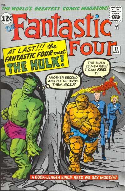 """La rivalidad entre La Cosa y Hulk tuvo su origen en este crossover ilustrado por Jack Kirby y Dick Ayers. Obsérvese que """"el Rey"""" dibujó únicamente tres dedos en el pie de Hulk, como si fuera el de Ben Grimm. ¡Y a las manos del goliat verde también parece que les falte un dedo!"""