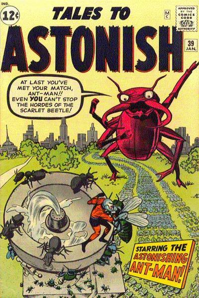 """El Escarabajo Escarlata no trabajaba para la URRS, no, pero a punto estuvo de acabar con el Hombre Hormiga en Tales To Astonish Nº 39 USA, otro de los inmarchitables """"clásicos"""" publicados por Marvel aquel 2 de Octubre de 1962. Más bizarro que sublime, el pobre bicho encontraría su destino final cuando el padre de Hulka le atizó con un periódico en Sensational She-Hulk Nº 60 USA, el apoteósico último número de la colección realizada por John Byrne."""