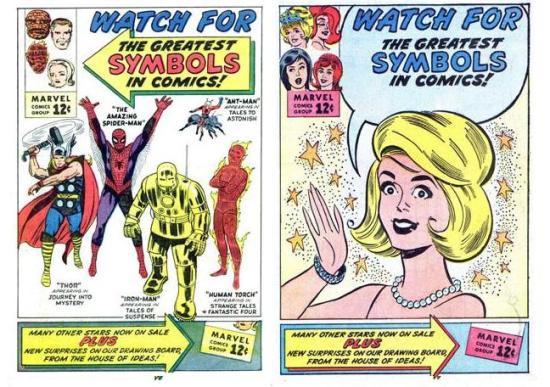 """¡Estas imágenes demuestran que Millie the Model formó parte de la Era Marvel ya desde un comienzo! Los carteles destinados a la promoción del universo superheroico serían reciclados a posteriori para diseñar un anuncio con un enfoque más """"romántico""""."""