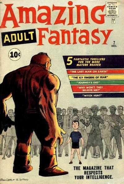 Amazing Adult Fantasy Nº 7 USA apareció a la venta el 31 de Agosto de 1961, justo dos días después de que Stan Lee enviara su misiva al doctor Jerry Bails. La cabecera retomaba la numeración de la antología Amazing Adventures, incorporando un nuevo logo con un tipo de letra idéntico al que se había hecho servir ese mismo mes para el lanzamiento de Fantastic Four.