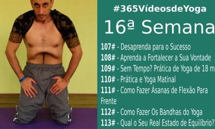 """#365VídeosdeYoga – 16 Semana com Práticas de Yoga Rápidas e Matinais, Inicio da Série """"Como Fazer"""" e Dicas de Autocontrole"""