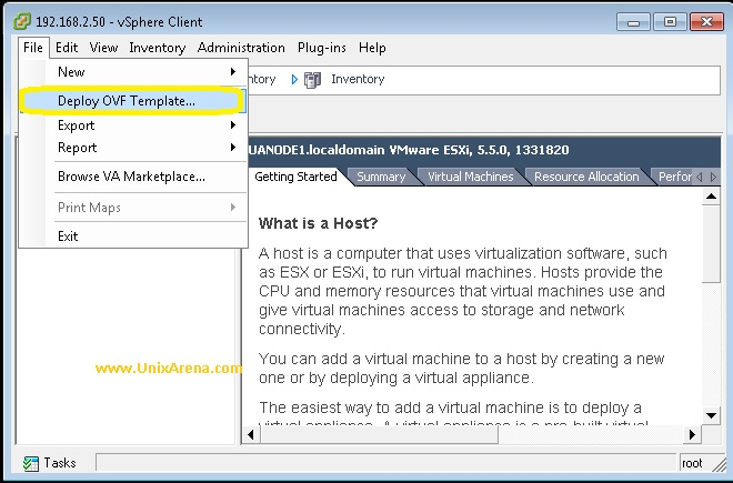 deploying a vm using an ovf template from within vsphere client ...
