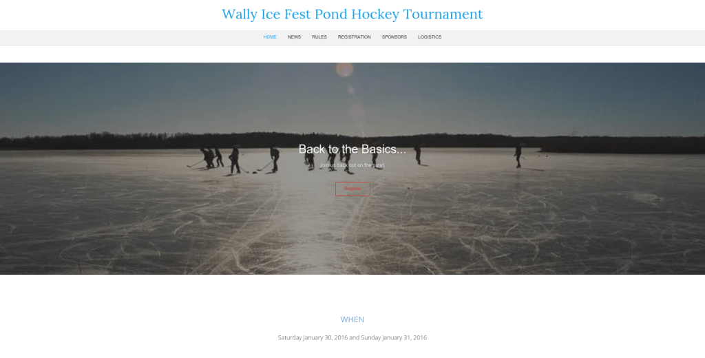 Wally Ice Fest Pond Hockey Tournament