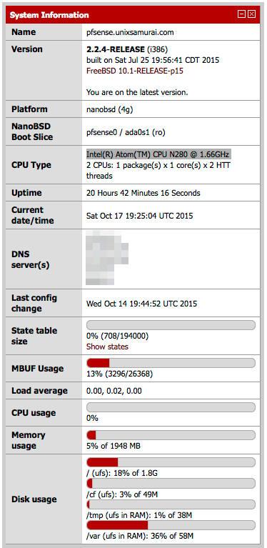pfsense thin client system information