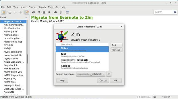 zim add new notebook dialogue