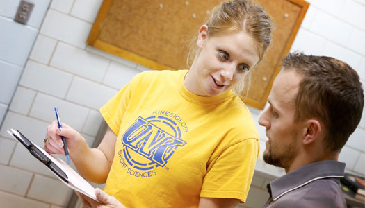 student working with instructor