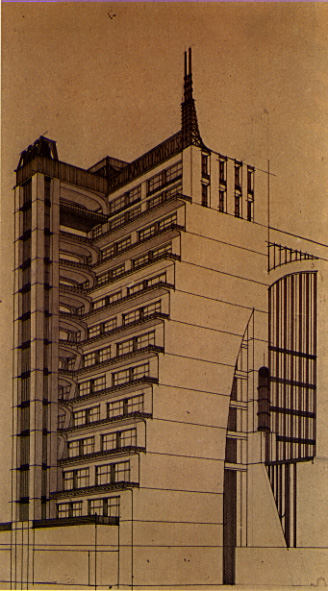 [Terraced Building with exterior elevators, by Antonio Sant'Elia]