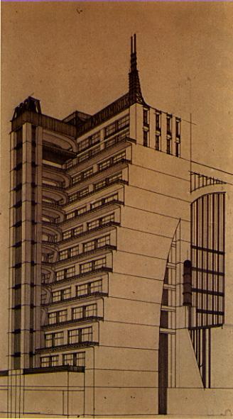 [Terraced Building with exterior elevators, by Antonio Sant'Elia]