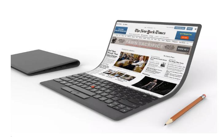 Lenovo shows off an absurd laptop concept with a flexible screen