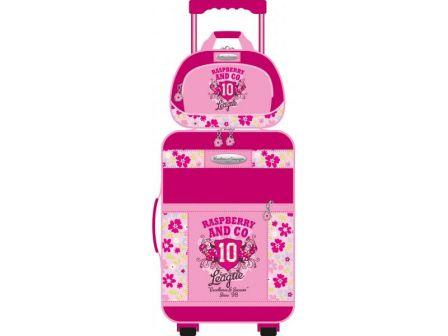 bagage valise et vanity fille enfant valise a roulettes pour fille framboise pas cher vendue avec