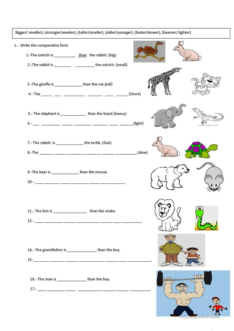 Comparative And Superlative Exercises Worksheets