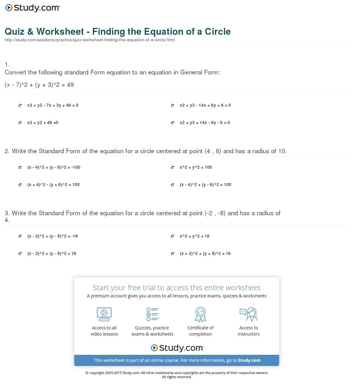 Equations Of Circles Worksheets