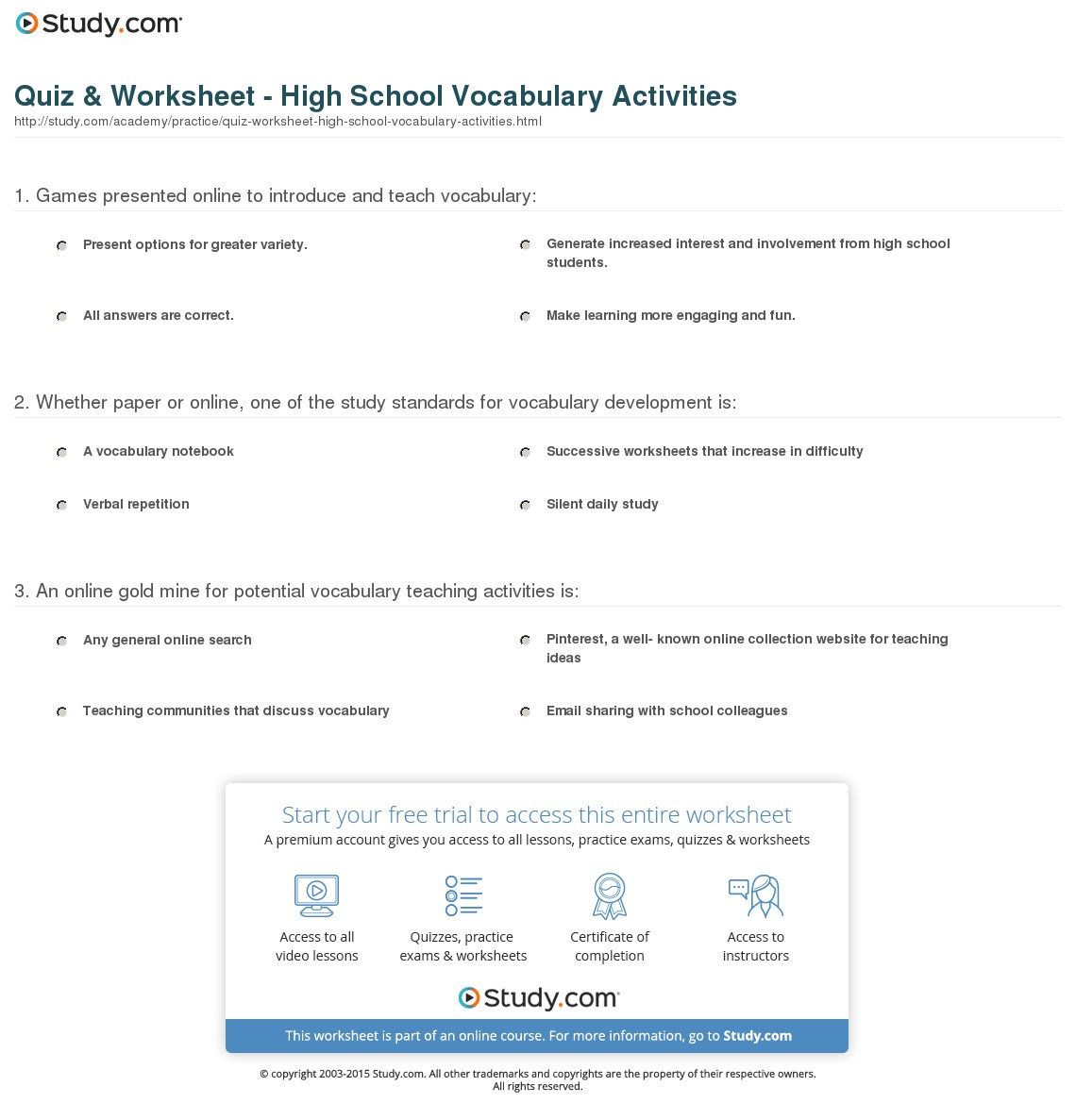 Vocabulary Worksheets For Highschool Students