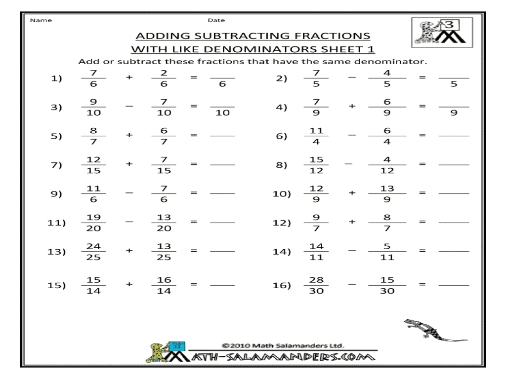 Adding And Subtracting Fractions Worksheets 7th Grade