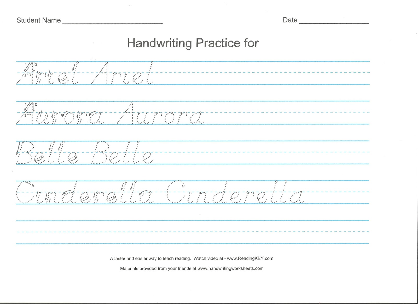 D Nealian Worksheets Printable