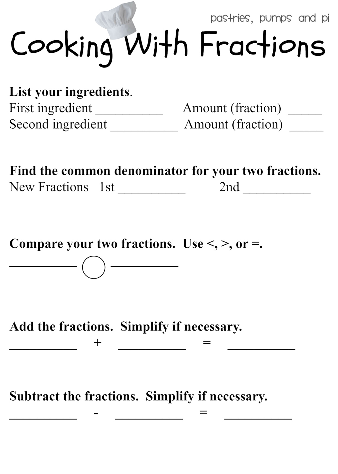 Cooking With Fractions Worksheets