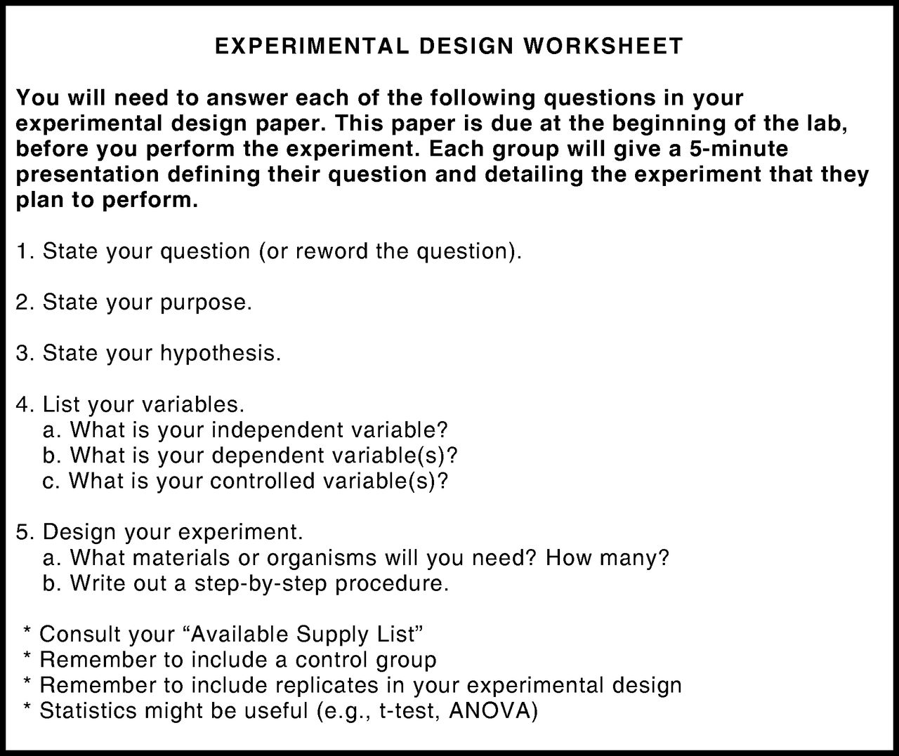 Experimental Design Worksheets Answers