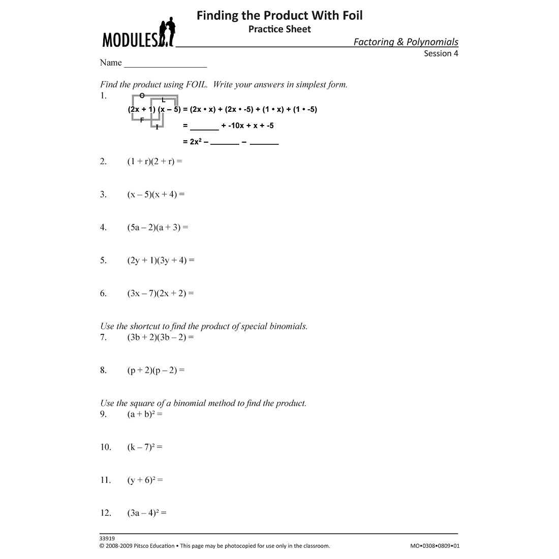 Foil Practice Worksheets