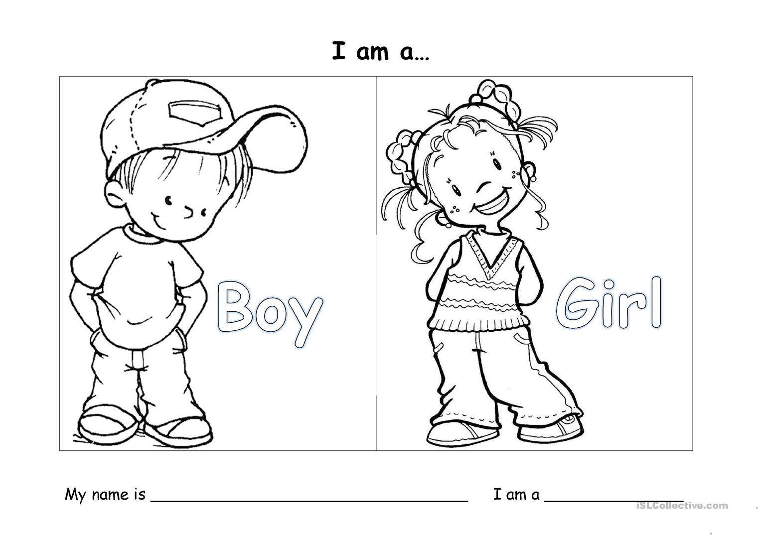 Boy And Girl Worksheets For Kindergarten