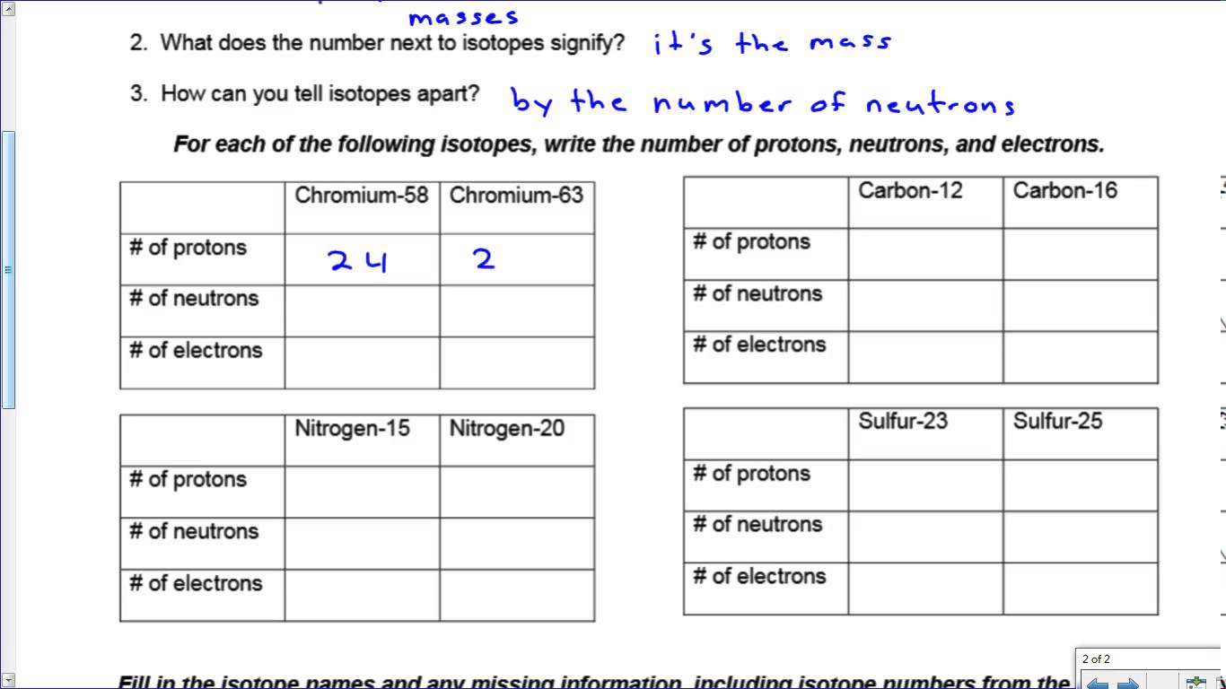 Ion Amp Isotope Practice Key Worksheets Samples