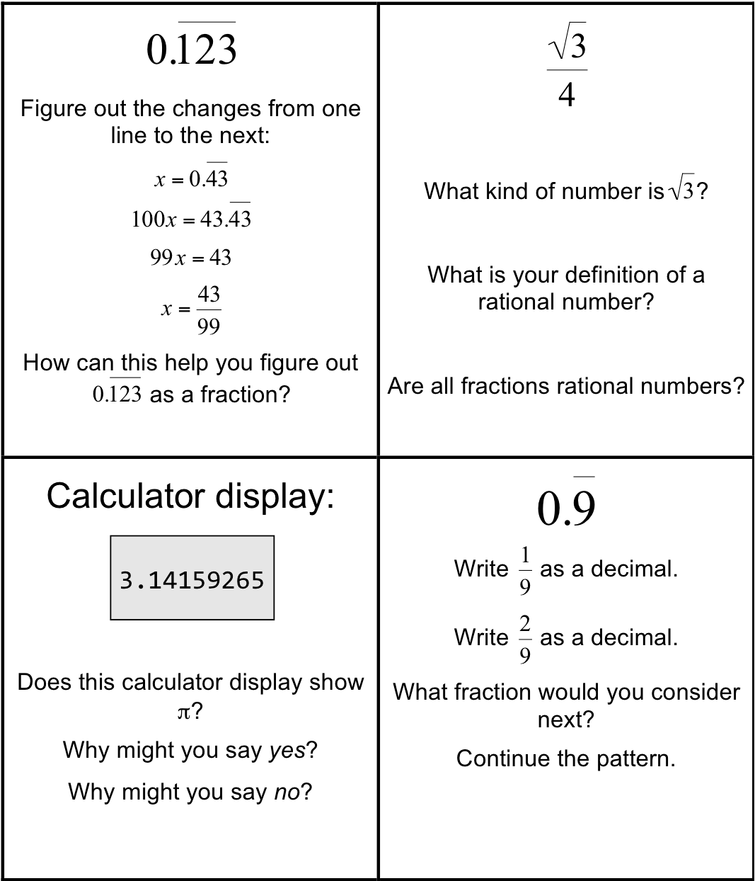 Irrational And Rational Numbers Worksheets